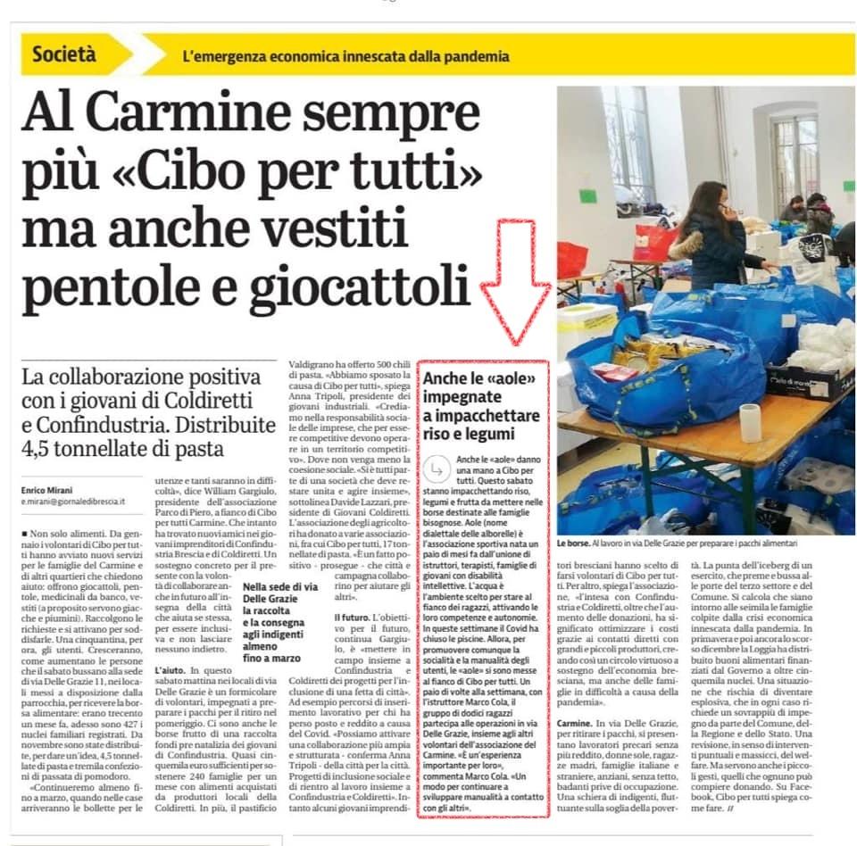 Giornale di Brescia Cibo per tutti Carmine